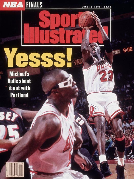 "In Game 1 of the Finals, Jordan torched the Blazers for a playoff-record 35 first-half points, including six three-pointers (he made only 27 the entire regular season), as the Bulls rolled 122-89. After one hoop, he looked toward the sideline, turned his palms upward and shrugged, as if to say,  What can I tell you?  He finished with 39 points on 16-of-27 shooting. ""The best game I've seen Michael play,"" teammate Horace Grant told reporters afterward."