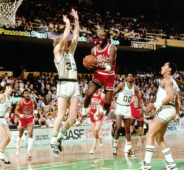 In his second year in the league, Jordan scored a playoff-record 63 points, including two foul shots that tied the game with no time left in the first overtime. Despite Chicago's loss in the second game of a first-round series that the Bulls would lose, Jordan's masterpiece in Boston Garden proved to be a coming-out party for His Airness.