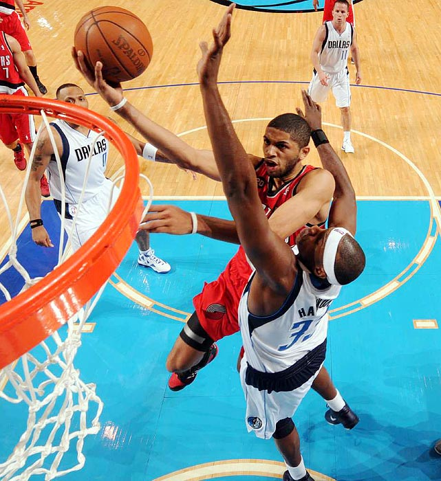 Portland Trail Blazers forward Nicolas Batum goes up for a layup during Game 1 of the Western Conference quarterfinals match between the Trail Blazers and the Dallas Mavericks.  Despite Batum's 14 points, the Blazers fell to the Mavericks 89-81.