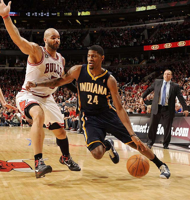 Playing in his first playoff series, rookie Paul George (right) gave the Pacers some nice across-the-board production in Game 2. The former Fresno State Bulldog finished the game with six points, four rebounds, three steals and four blocks.