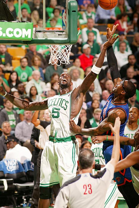 Celtics forward Kevin Garnett (left) and Knicks forward Amar'e Stoudemire battle beneath the boards during the Celtics' 87-85 victory over the Knicks in Game 1 of the Eastern Conference quarterfinals.