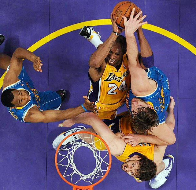 Defense such as this limited Kobe Bryant to 3-for-10 shooting from the floor, but his defense on Hornets point guard Chris Paul propelled the Lakers to an 87-78 victory in Game 2 of the Western Conference quarterfinals.