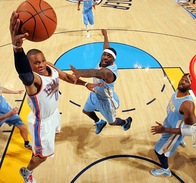 With Russell Westbrook (left) and Kevin Durant leading the way -- the two combined for 72 of the Thunder's 107 points -- the Thunder blew past the Nuggets 107-103 to take Game 1 of the Western Conference quarterfinals.