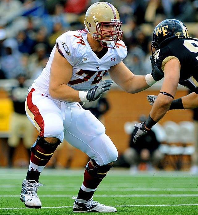 Will Pick:   Anthony Castonzo , T, Boston College    Should Pick:   Anthony Castonzo , T, Boston College   Some see Castonzo as a mauler with great competitive spirit, others as a second-rounder who has peaked as an ACC tackle. But he was the most versatile lineman at the Senior Bowl, started for four seasons at the school where Tom Coughlin used to coach, and is one of the quickest studies of any player in this draft. The Giants have three starting O-linemen (Shaun O'Hara, Rich Seubert, David Diehl) who are 30 or older, and Castonzo can plug in at four line spots.