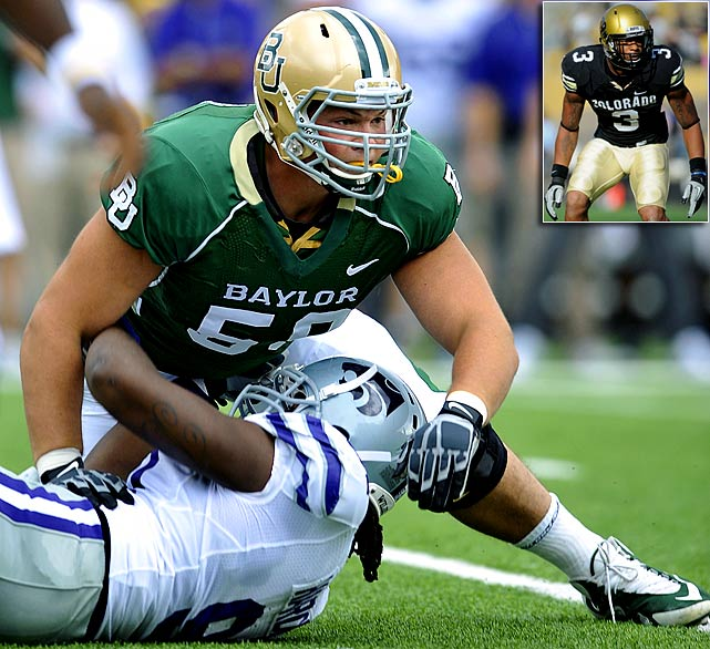 Will Pick:   Danny Watkins , G, Baylor   Should Pick:   Jimmy Smith , CB, Colorado   Baylor coach Art Briles has been saying for the past year that Watkins, the former firefighter from Canada who didn't play football until junior college, would be a first-round pick. And he was hooted down. Art, you're going to have the last laugh. Philadelphia would consider pass rushers Aldon Smith and Adrian Clayborn here. But Andy Reid has an affinity for O-linemen, and Watkins is the kind of tough player Eagles fans will love.