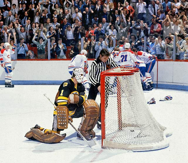 In one of the darkest moments in Boston's history, the Bruins held a 4-3 lead with less than two minutes left in Game 7 of the semifinals when coach Don Cherry failed to realize he had seven men on the ice. The resulting penalty gave Montreal the opening it needed. Guy Lafleur scored on the ensuing power play and the game went into overtime where Montreal's Yvon Lambert put in the game-winner to take the series. The Habs went on to win their fourth-straight Stanley Cup, by defeating the New York Rangers in five games.  Click here to watch.