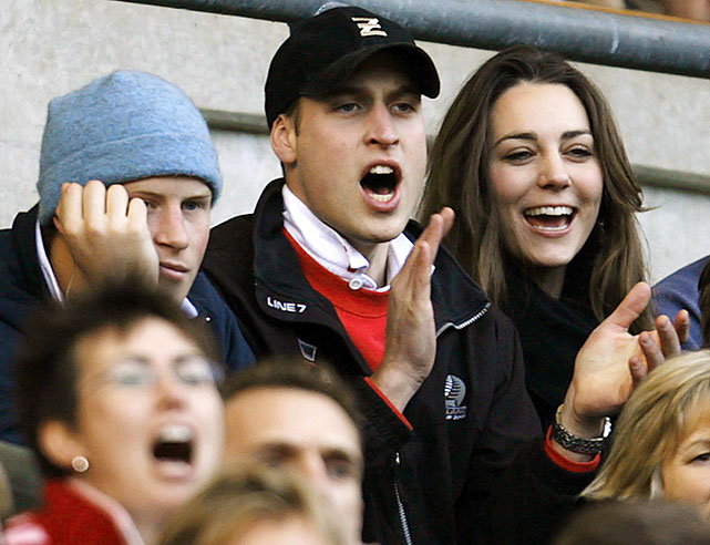 Prince Harry, Prince William and Kate Middleton attend the Six Nations international rugby union match against Italy.