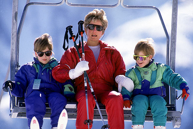 Princess Diana is sandwiched by her sons, William and Harry, during a skiing holiday in Lech, Austria.