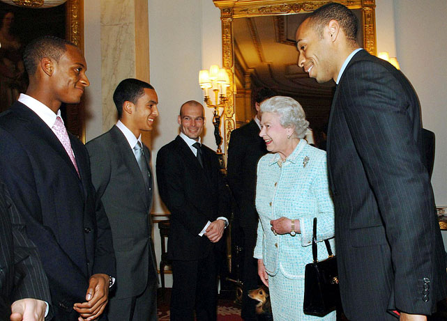 Queen Elizabeth II meets members of the Arsenal EPL team during their visit to Buckingham Palace.