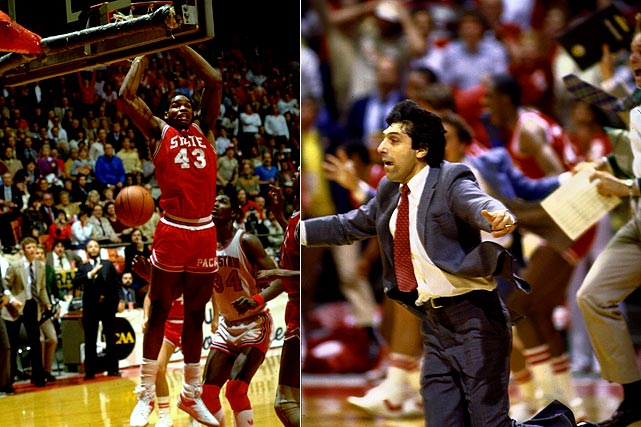 Houston's highly ranked juggernaut earned a nickname -- Phi Slamma Jamma -- for its dunking ability, but N.C. State used a slam of its own to finish an unlikely upset in 1983. The Wolfpack lengthened the game with fouls and tied the score. A 35-foot airball with three seconds left landed in the arms of an air-born Lorenzo Charles, who dunked N.C. State and coach Jim Valvano to the title.