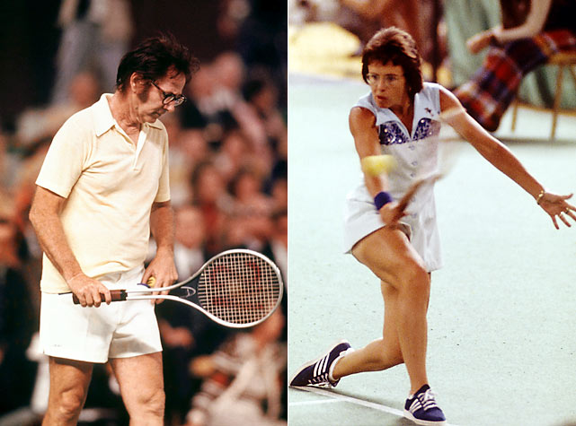 "In a tennis match billed as ""The Battle of the Sexes,"" Billie Jean King faced off against Bobby Riggs, an ex-No. 1 player and star of men's tennis. Riggs claimed that women's tennis was inferior to men's, and that even well past his prime (at age 55), he could beat any woman willing to play him. King won the 1973 match 6-4, 6-3, 6-3, making a statement for all female athletes."
