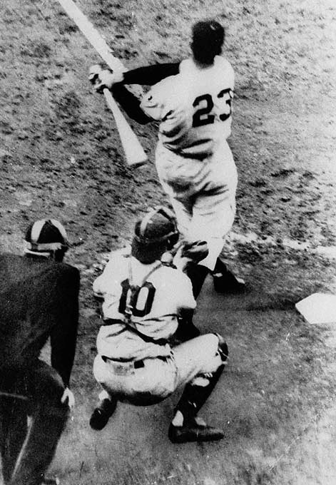 At 3:58 p.m. EST on Oct. 3, 1951, Bobby Thomson swatted a walk-off home run off Dodgers pitcher Ralph Branca at the Polo Grounds to give the Giants the National League pennant. Thompson's shot came in Game 3 of the three-game playoff between the rivals, and it came with the Giants down two runs with two men on base. It's still considered one of the most iconic moments in baseball history.