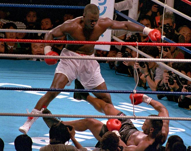 The 1990 bout in Tokyo was supposed to be merely a tuneup fight for Tyson, who was widely considered the best boxer in the world. But in the 10th round, Douglas used an uppercut and a series of combinations to knock down the champ for the first time. Tyson struggled to regain his footing and failed to beat the ref's count.