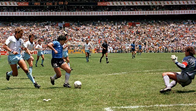 "Argentina's star scored two goals -- one infamous and one famous -- late in his team's 2-1 win over England at the 1986 World Cup. While the ""Hand of God"" goal is remembered for all the wrong reasons, Diego Maradona's dash through the England defense highlighted the beauty of the world's game. Maradona eluded four defenders on a 60-yard scoring run to lead Argentina to the quarterfinal victory."