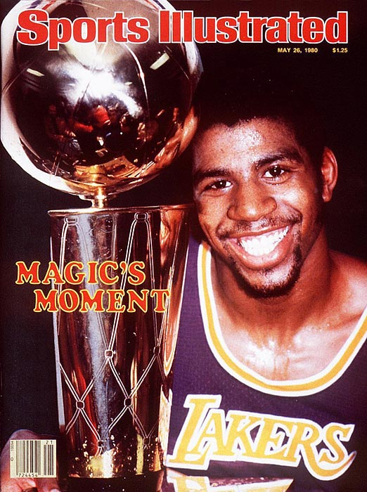 With Kareem Abdul-Jabbar out with an ankle injury, the 6-9 rookie point guard Magic Johnson moved to center (eventually playing every position on the floor) and delivered a 42-point, 15-rebound performance as the Lakers clinched the 1980 championship with a 123-107 victory in Game 6. Johnson's versatility was never more evident than in this game.