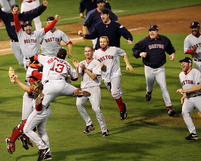 After the Boston Red Sox came back from a 3-0 deficit to stun the Yankees in the American League Championship Series, experts wondered if they had enough left in the tank to lift the Curse of the Bambino. They left no doubt in a sweep of the Cardinals. Manny Ramirez hit .412 during the World Series to earn MVP honors, and three of Boston's four starters didn't give up an earned run.