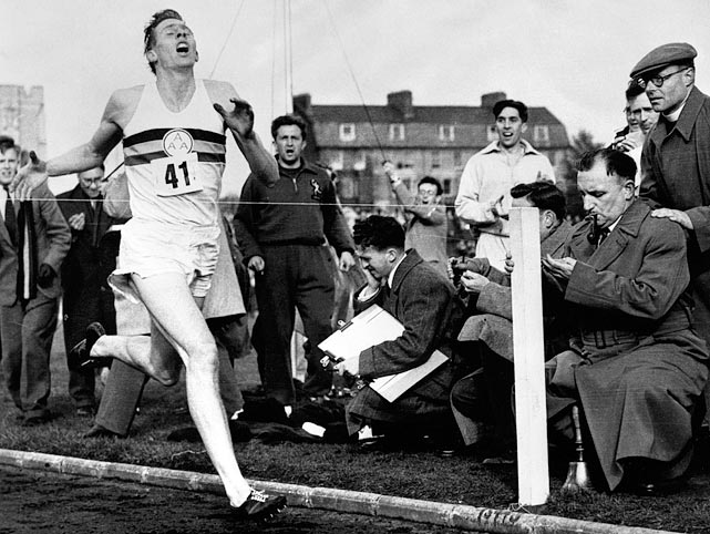 The world record had been stuck at 4:01.4 for nine years when Roger Bannister finally broke through on May 6, 1954. Pacesetters led Bannister for three laps and he put together a 59-second final lap to finish in 3:59.4, knocking two seconds off the record and eclipsing the four-minute mark.