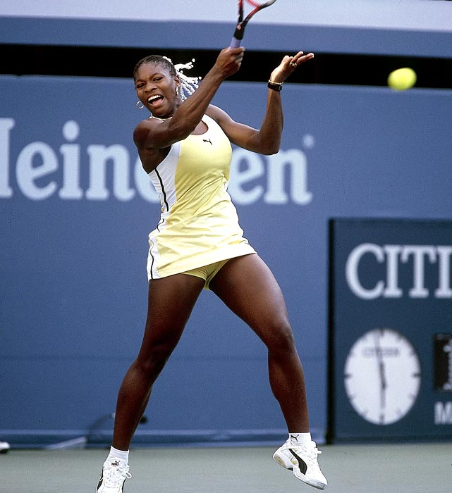 At 17 and in only her second professional season, Serena Williams defeated Martina Hingis, the world's top-ranked player, to become the first African-American woman to win a Grand Slam title since Althea Gibson in 1958. In capturing the 1999 title, Williams beat three of the top four women in the world -- Hingis, Lindsay Davenport (2) and Monica Seles (4). She has since won 12 more Grand Slam titles.