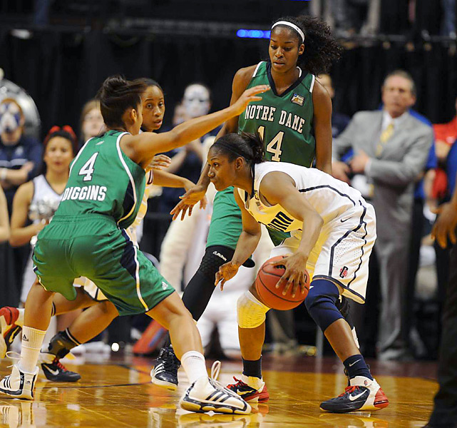 On Sunday night, the Irish forced 12 turnovers and held the usually proficient Huskies to only 42 percent shooting.