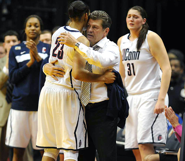 In her four years with coach Geno Auriemma, Maya Moore (36 points) won two national titles and helped set the all-time college record for consecutive victories (90).