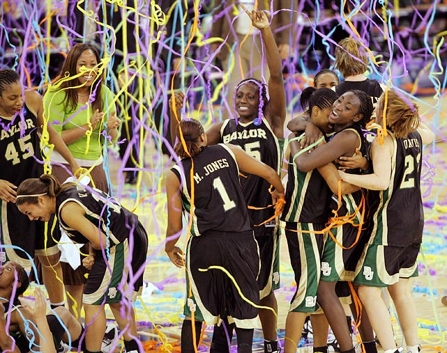 Michigan State was the victim of its own success. The Spartans had come from 16 points behind to beat Tennessee in the semifinals, so even when the Bears had a 20-point lead, they didn't stop pressing. Sophia Young scored 26 points for Baylor, and Kim Mulkey-Robertson became to first woman to win titles as both a player and coach.