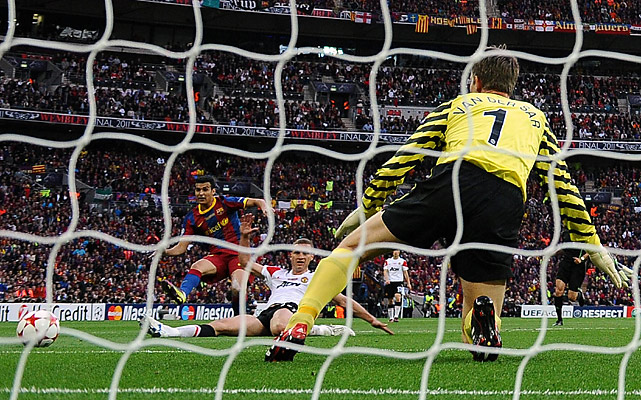 Barcelona and Lionel Messi put their places among football's all-time greats beyond all doubt Saturday as the Argentina striker scored one goal and created another in their decisive win over Manchester United.  Here, Pedro Rodriguez (left) beats goalkeeper Edwin Van der Sar in the 27th minute to give Barca the early lead.
