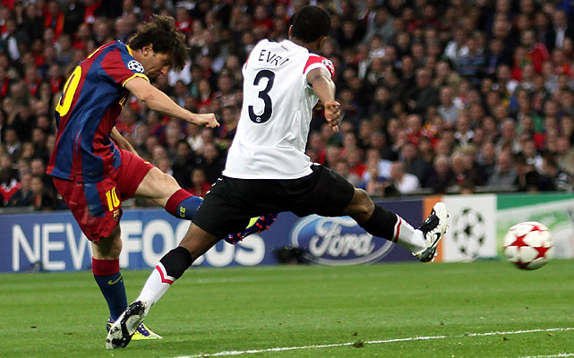 Lionel Messi (left), the two-time world player of the year, spotted a gap between the central defenders -- including Patrice Evra -- and curled the ball past van der Sar to give Barcelona the lead for good in the 54th minute.