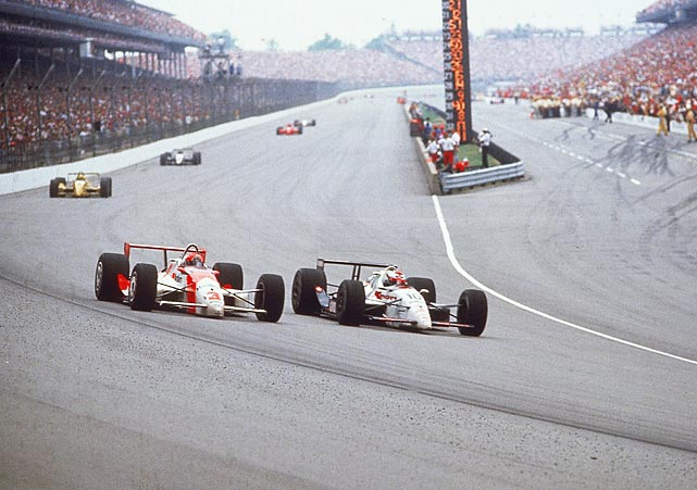 Michael Andretti dominated the 75th Indianapolis 500, leading 97 laps, but a flat tire late in the race forced him to make an unscheduled stop. In his absence, Rick Mears assumed the lead. The two jockeyed for supremacy down the stretch, but the unexpected stop proved costly as Mears outlasted Andretti to become only the third four-time Indy 500 winner.