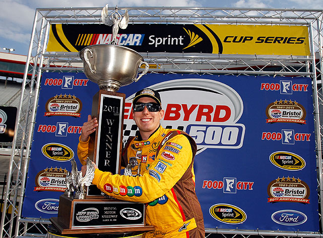 Points Standing: 3   Wins: 2   Top 10s: 7   Top 5s: 6   2011 Season:  A calmer, more mature Kyle Busch (sans a little fracas with Kevin Harvick) is one of three drivers this season to collect two wins, virtually guaranteeing him a spot in the Chase. Sprint Cup action aside, Busch is hoping to make Nationwide history this weekend by tying Mark Martin's all-time winning record of 49.