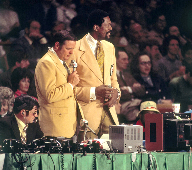 Russell teams with Keith Jackson to broadcast a Celtics game in 1972. The former center retired in 1969, after 13 seasons.