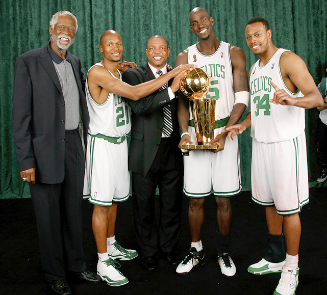 Russell with current Celtics Ray Allen, Coach Doc Rivers, Kevin Garnett and Paul Pierce after they led Boston to a championship-clinching victory over the Lakers in the 2008 NBA finals. It was the 17th title in organization history.