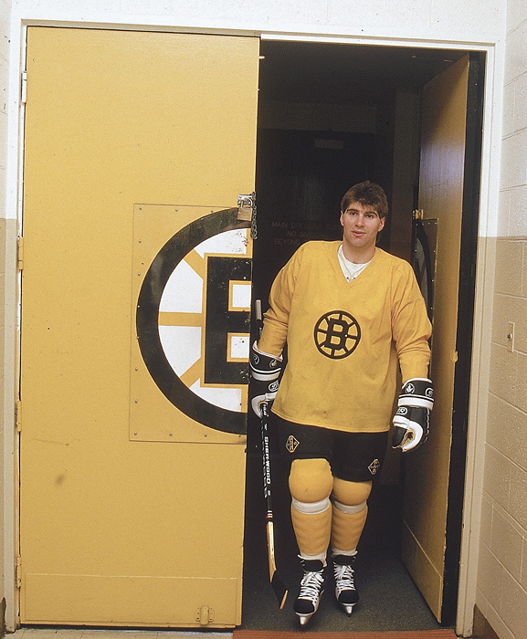 The legendary defenseman leaves the locker room for practice. Bourque won the Norris Trophy as the league's top defenseman five times and was a 19-time All-Star.