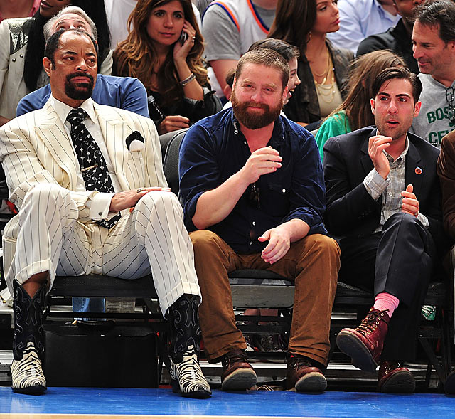 This has to be the most bizarre celebrity trio at the playoffs. The three were in attendance at a first-round meeting between the Knicks and Celtics at Madison Square Garden.