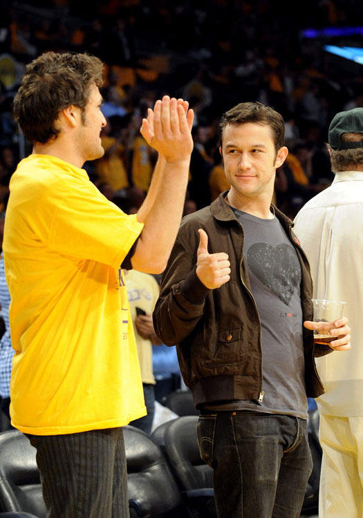 "The ""Inception"" star watched the Lakers courtside at Staples Center."