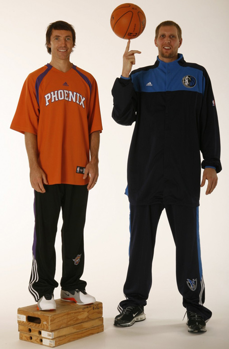 There's a height difference, but former teammates Steve Nash and Nowitzki both earned MVP honors. The Suns point guard won in 2004-05 and 05-06, while Nowitzki took the award in 06-07.