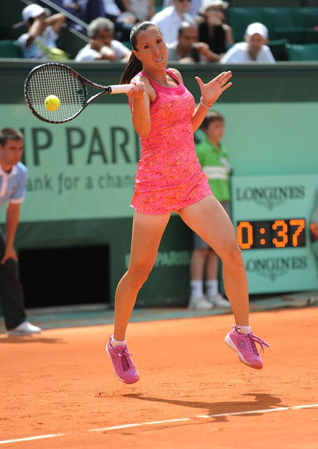 Serbian's Jelena Jankovic returns the ball to Ukraine's Alona Bondarenko during their first-round match. Jankovic won 6-3, 6-1.