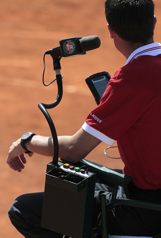 An umpire is pictured during the second day of the French Open.