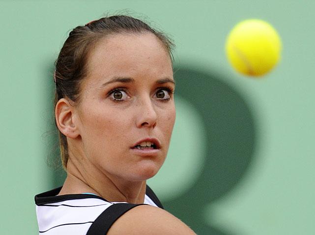 Australia's Jarmila Gajdosova hits a return to Spain's Anabel Medina Garrigues during their second-round match. Gajdosova won 7-6(4), 6-4.