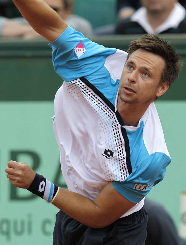 Sweden's Robin Soderling hits a return to Spain's Albert Ramos during their second-round match. Soderling won 6-3, 6-4, 6-4.