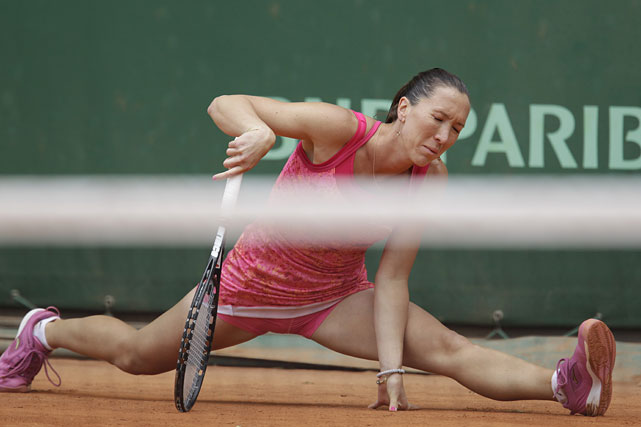 Jelena Jankovic slips during her third-round match with Bethanie Mattek-Sands of the United States. Jankovic won 6-2, 6-2.