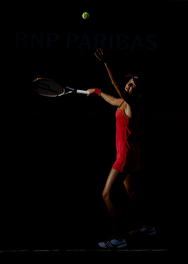 Daniela Hantuchova of Slovakia serves during her fourth-round match with Svetlana Kuznetsova. Hantuchova lost 6-7(6), 6-3, 6-2.