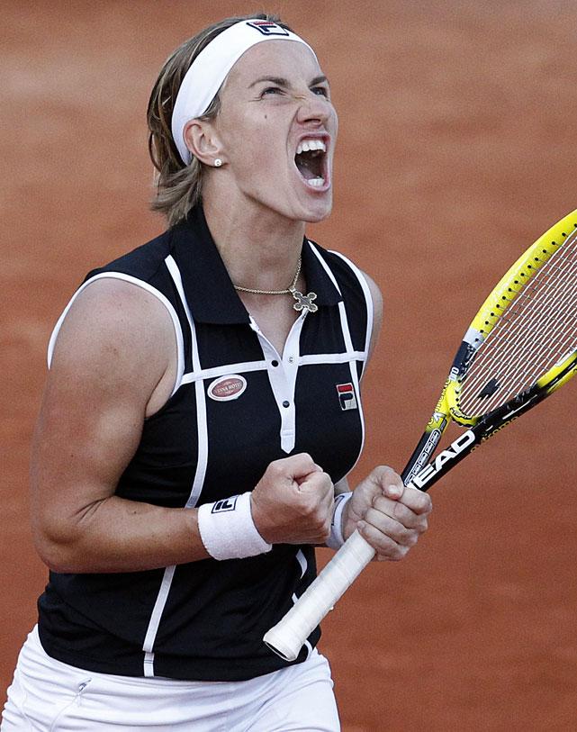 Svetlana Kuznetsova reacts as she defeats Daniela Hantuchova.
