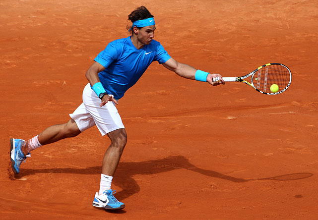 Rafael Nadal of Spain plays a forehand during his 7-5, 6-3, 6-3 victory over Croatia's Ivan Ljubicic.