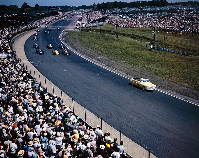 The crowd looks on at the beginning of the Indy 500. Johnnie Parsons took the title in 1950.