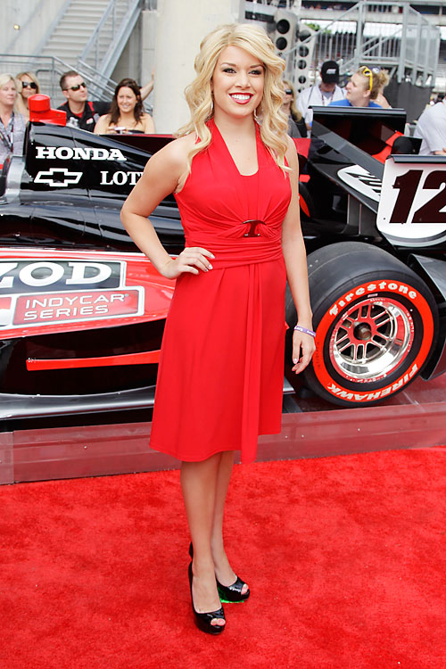 The line of celebrities at the Indy 500 included Miss America 2011 Teresa Scanlan.