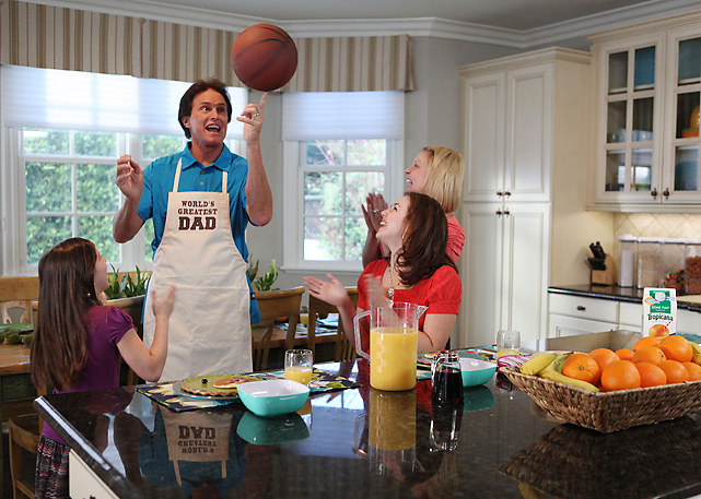 Bruce Jenner spoofs the  Keeping Up with the Kardashians  reality show on the set of a Tropicana commercial.