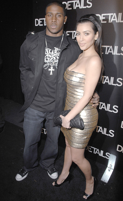 Kim attends a party in Beverly Hills with then-boyfriend Reggie Bush. The couple dated on and off for nearly three years.