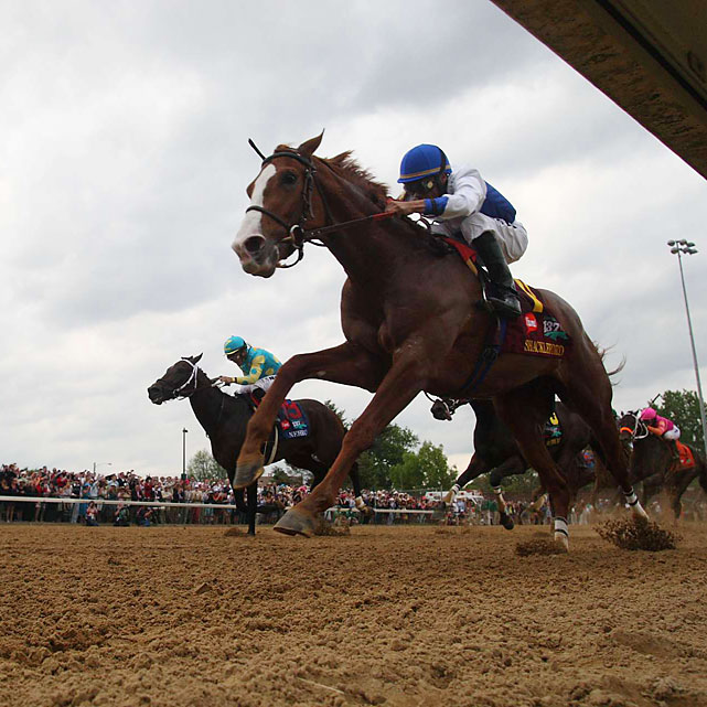 Shackleford took the early lead and held it for the majority of the 1 1/4-mile race.