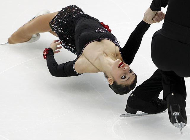 Italian pair Stefania Berton (left) and Ondrej Hotarek perform during the pairs short program competition at the ISU world figure skating championships in Moscow on April 27. The pair finished ninth.
