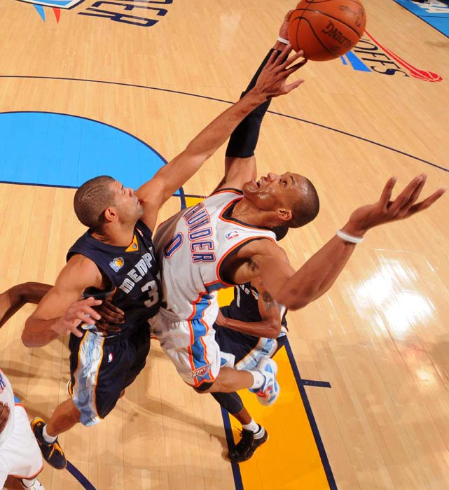 Memphis Grizzlies forward Shane Battier (left) gets physical with Thunder point guard Russell Westbrook during the Grizzlies' 114-101 victory over the Thunder in Game 1 of the Western Conference semifinals. Westbrook turned the ball over seven times against only six assists.